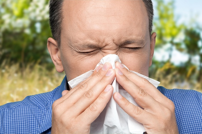 Man with hay fever sneezing
