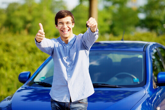 Happy man with keys to his new car