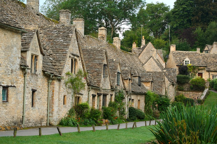 A row of old English stone houses